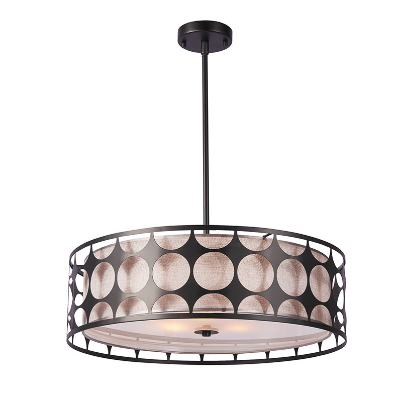 European Living Room Chandelier Vintage Matte Black Metal Shade Pendant Lamp NC9118P-3S-SV