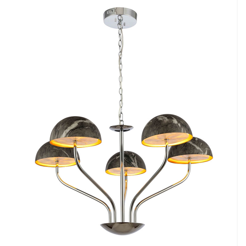 2020 Newest Contemporary Simple Decorative Shell Chrome+Black Marble(Water transfer) Round Pendant Lamp NC9259P-5