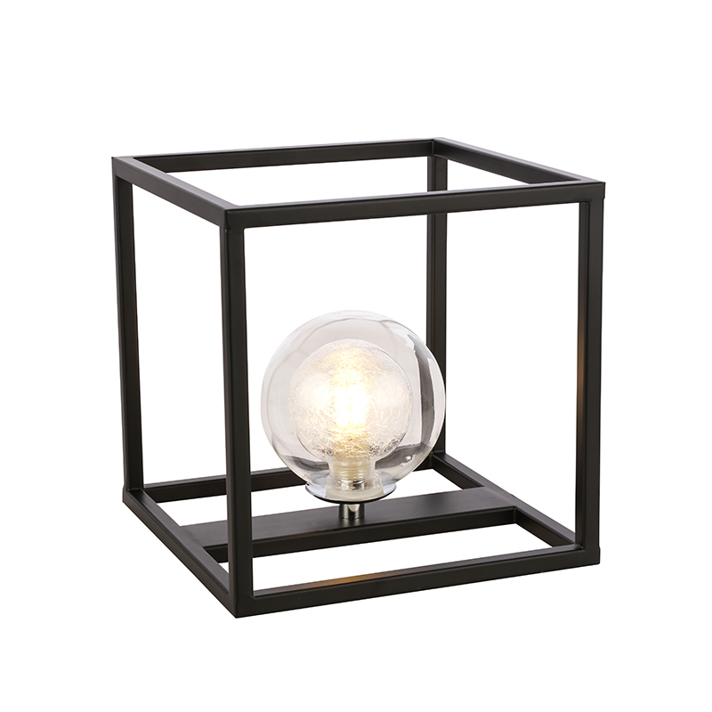 Simple Two Lights Living Room Bedroom Clear Glass Ball Table standing lamp For Decoration nc6174T-1B
