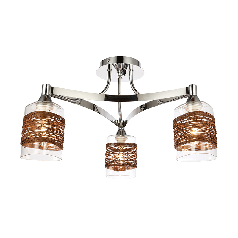 Nice Lighting Wholesale Popular E27 Metal Glass Shade Modern Ceiling Lamp AP001-3C